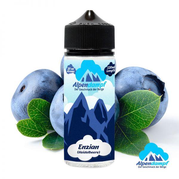Das Longfill Aroma Enzian von Alpendampf für ihre E-Zigarette. Geschmack: Süße Heidelbeere - Dosierungsempfehlung: Flasche auffüllen