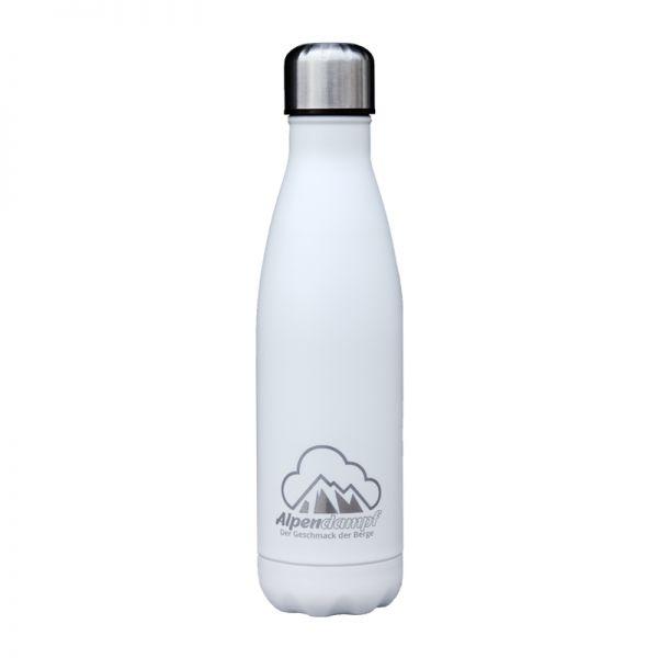 Trinkflasche 0,5 L Farbe weiß mit Alpendampf Schriftzug