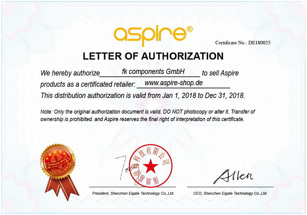 ASPIRE Zertifikat 2018