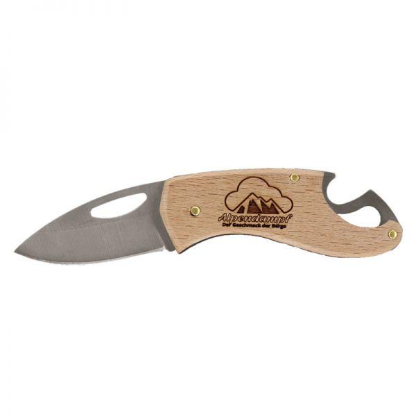 Brotzeitmesser mit Holzgriff und Alpendampf-Schriftzug - Klappmesser - 11,5 cm lang - regionaler Hersteller - jetzt online bestellen - schneller Versand